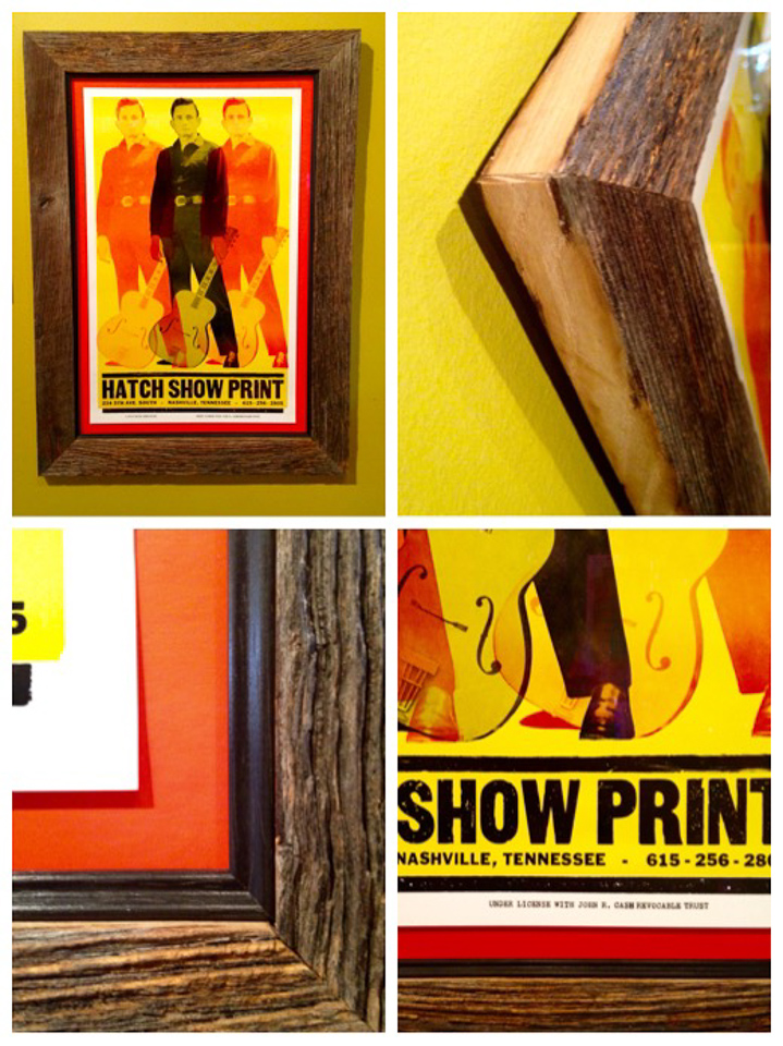 Hatch Show Print of Johnny Cash float mounted and framed in reclaimed wood with black insert.