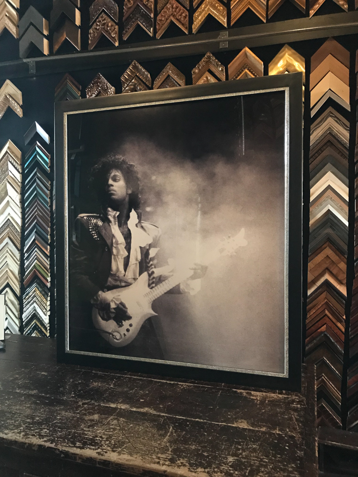 Our beloved Prince framed in welded steel with a studded silver insert.