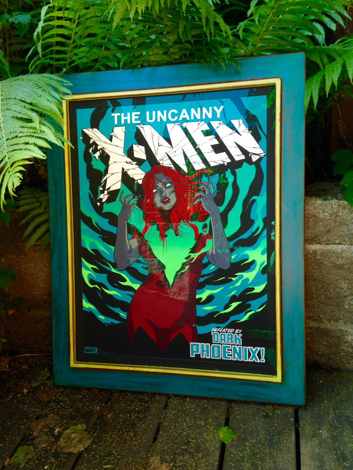 Xmen print framed in painted and rusticated steel.