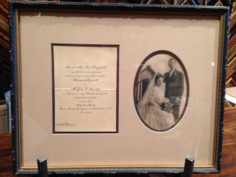 Grandparents wedding memories framed in dark ornate frame.