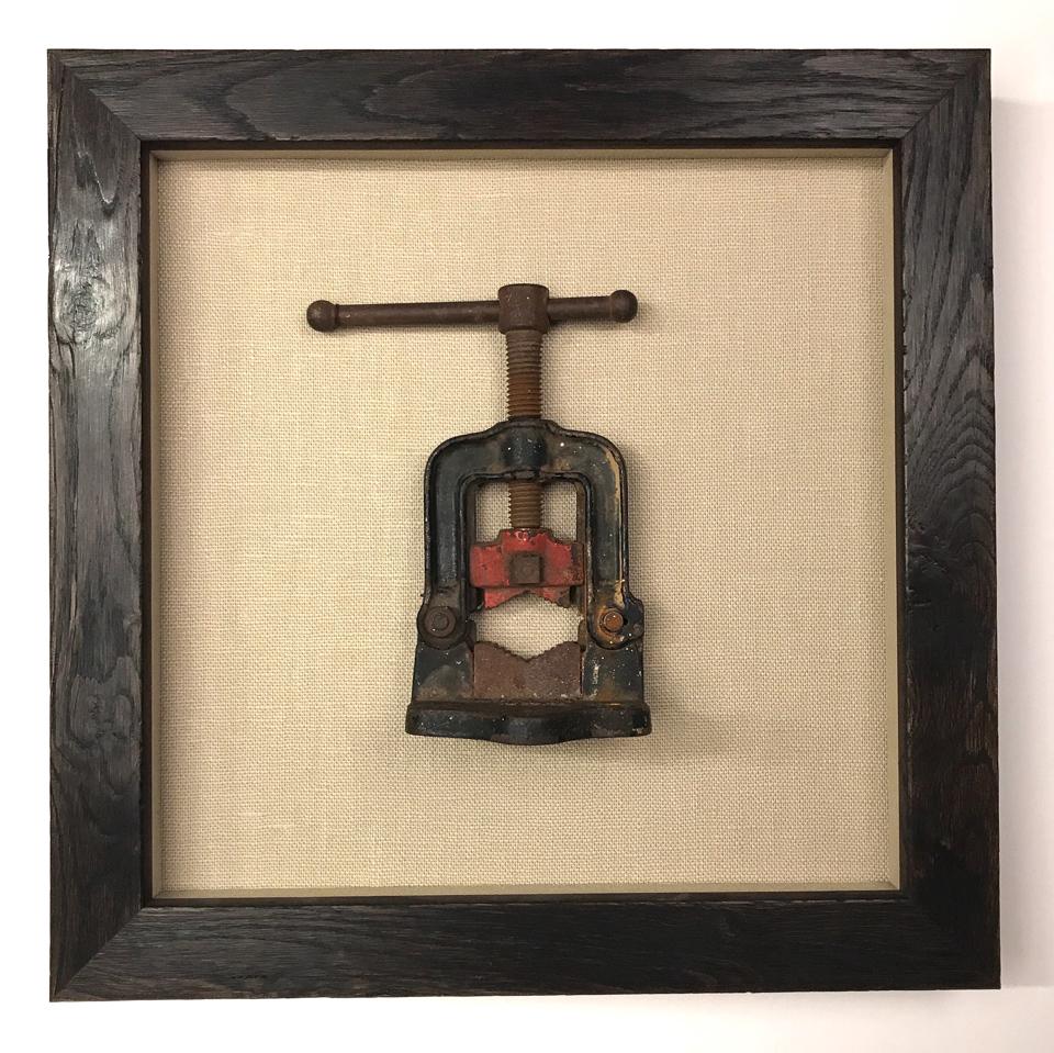 Family keepsake framed as artwork in reclaimed wood frame.