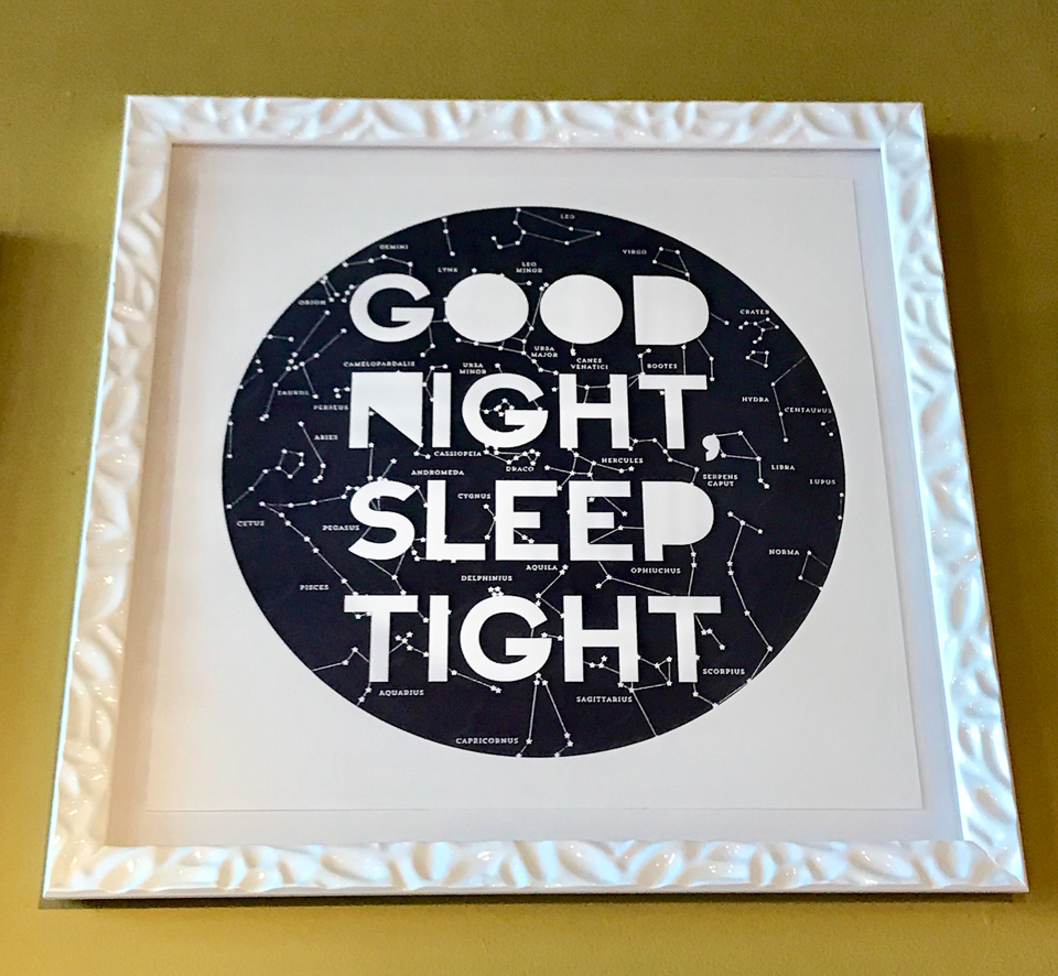 Letterpress print framed in glossy white lunar-like frame. For sale in our showroom. Thanks for taking a look at our gallery. Good Night.