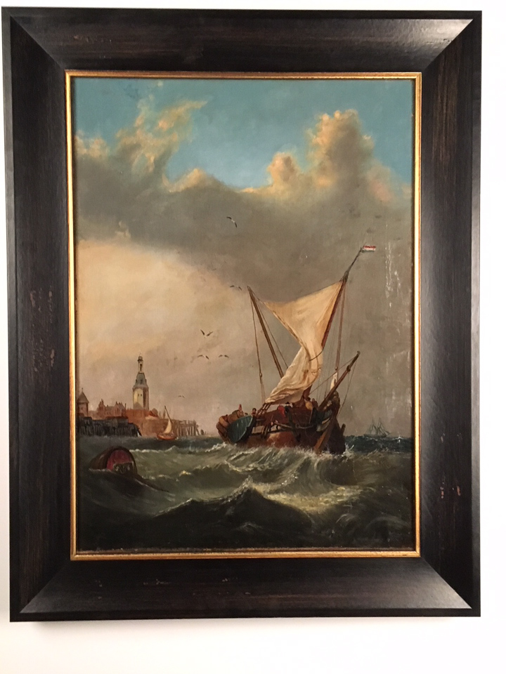 Vintage painting framed in a dark waxed wood frame with gold lip.