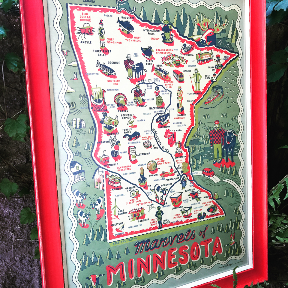 Minnesota Marvels by Faye Passow framed in vintage red.