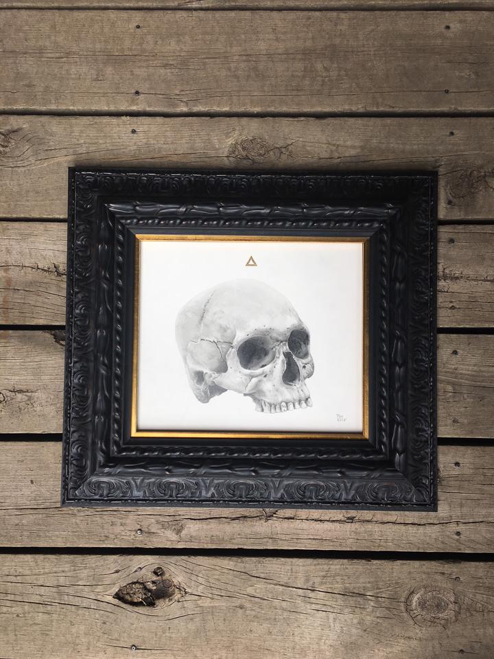Drawing framed in dark ornate frame with gold fillet.
