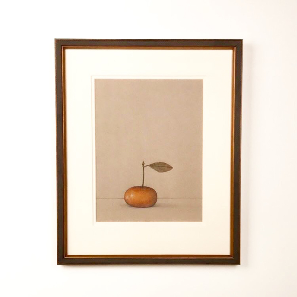 Drawing by Steven Rydberg framed in an oxidized gold patterned frame.