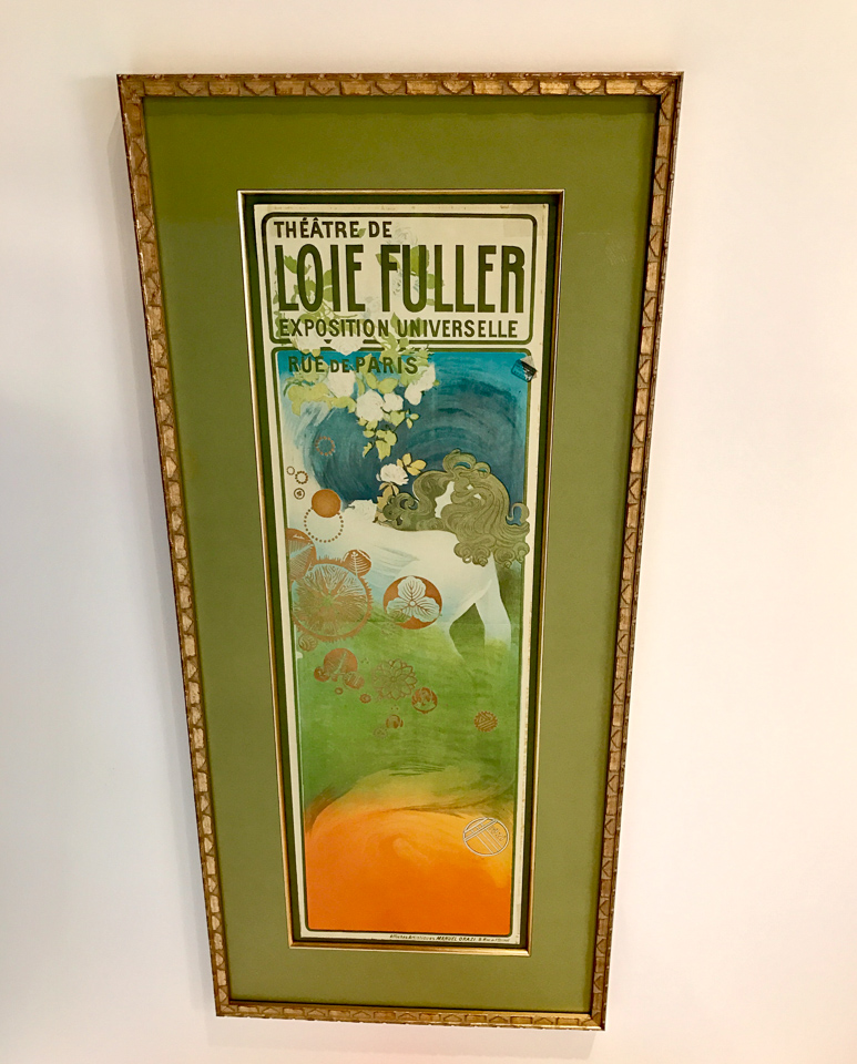 Vintage French Ad matted in green with gold fillet and framed in gold Art Deco patterned frame. For sale in our showroom.