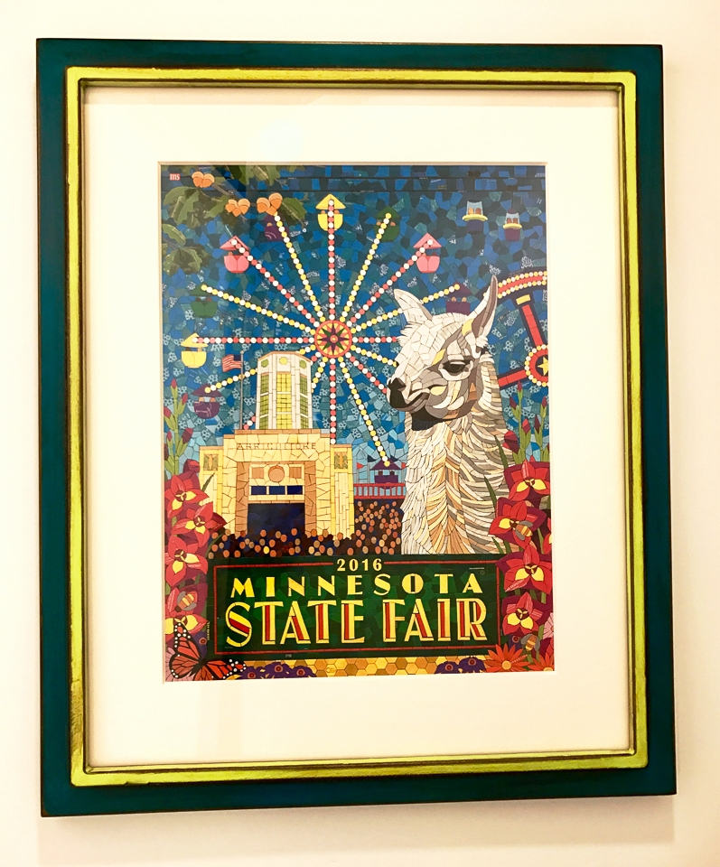 MN State Fair print framed in painted and rusticated steel.
