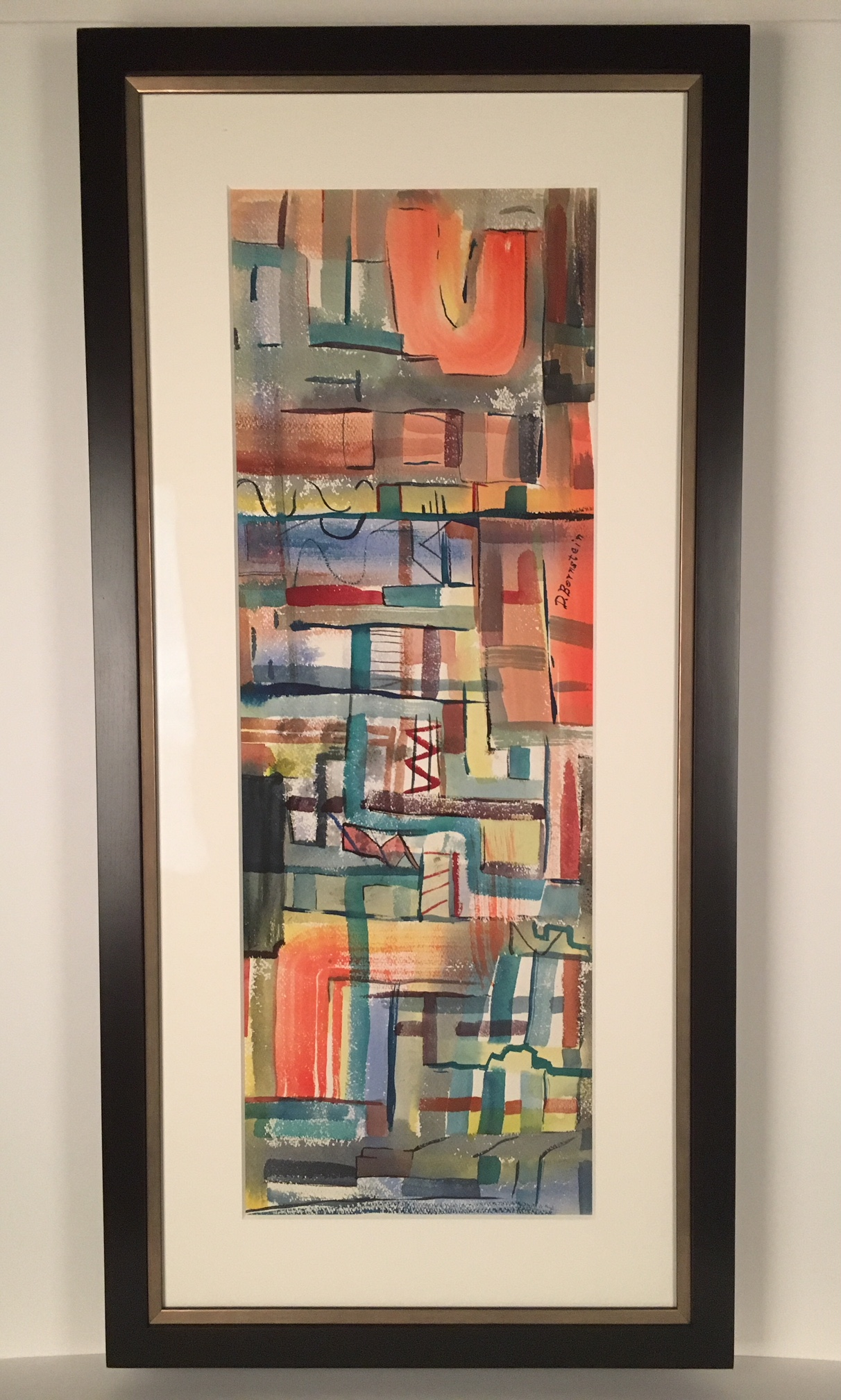 Mid-Century watercolor framed in dark wood frame with angled back sides.