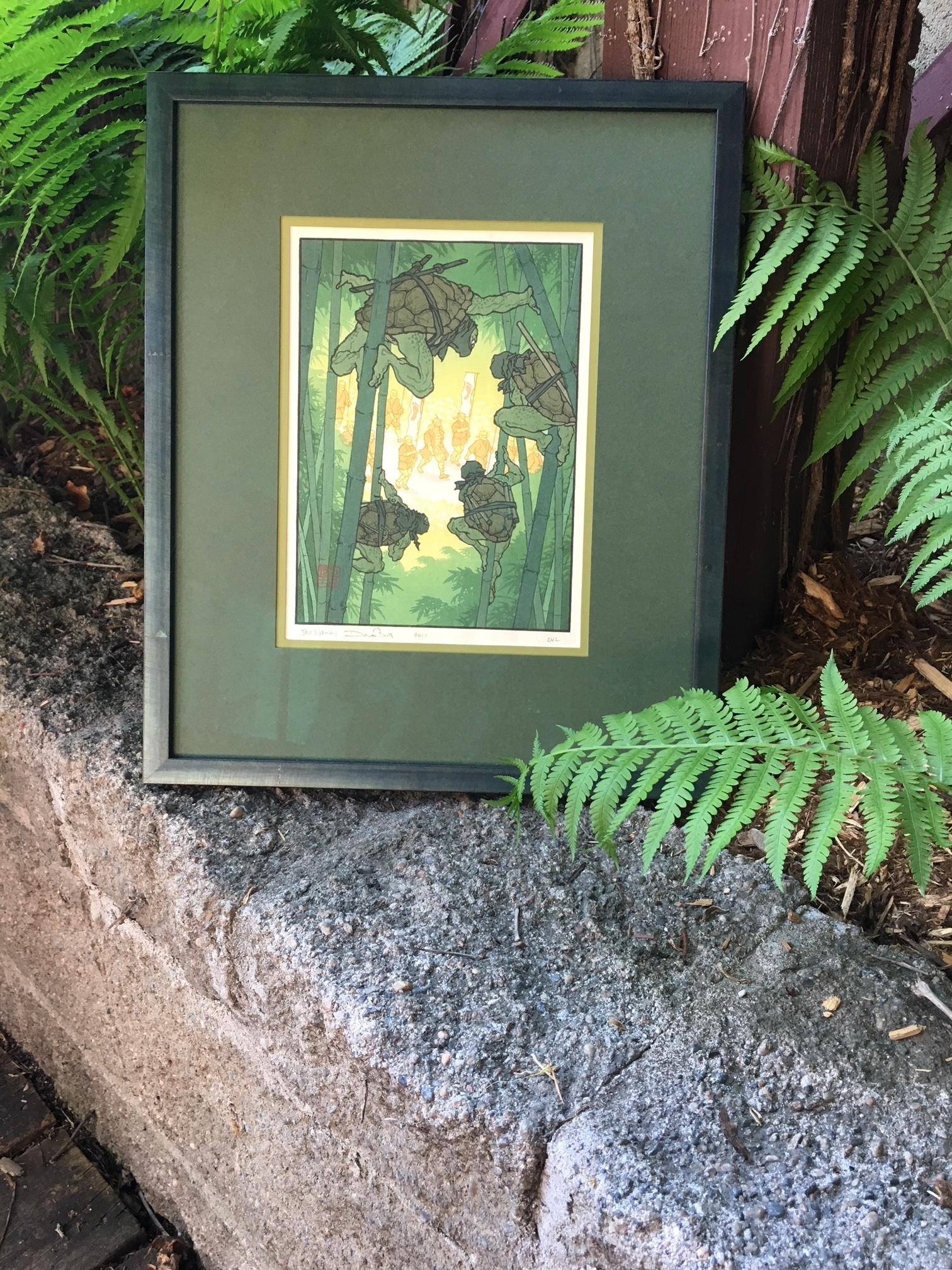 Ninja turtles print framed in oxidized green frame.