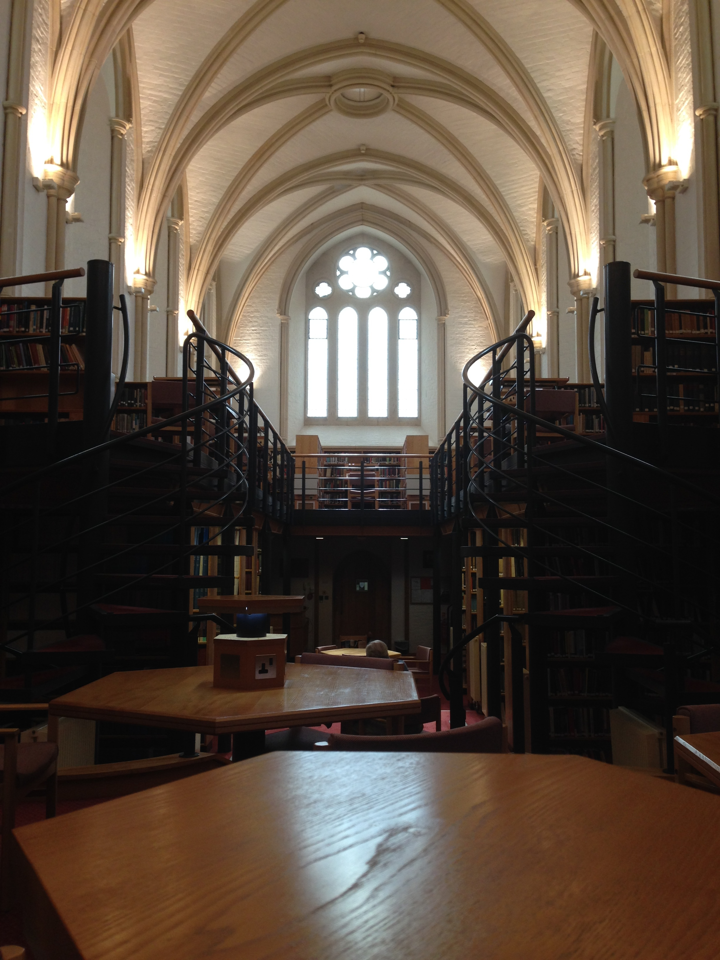 - St Antony's College library - this Oxford college has buildings that were formerly part of a convent. The college's library used to be a church.  I wrote a substantial part of the final paper in this space.
