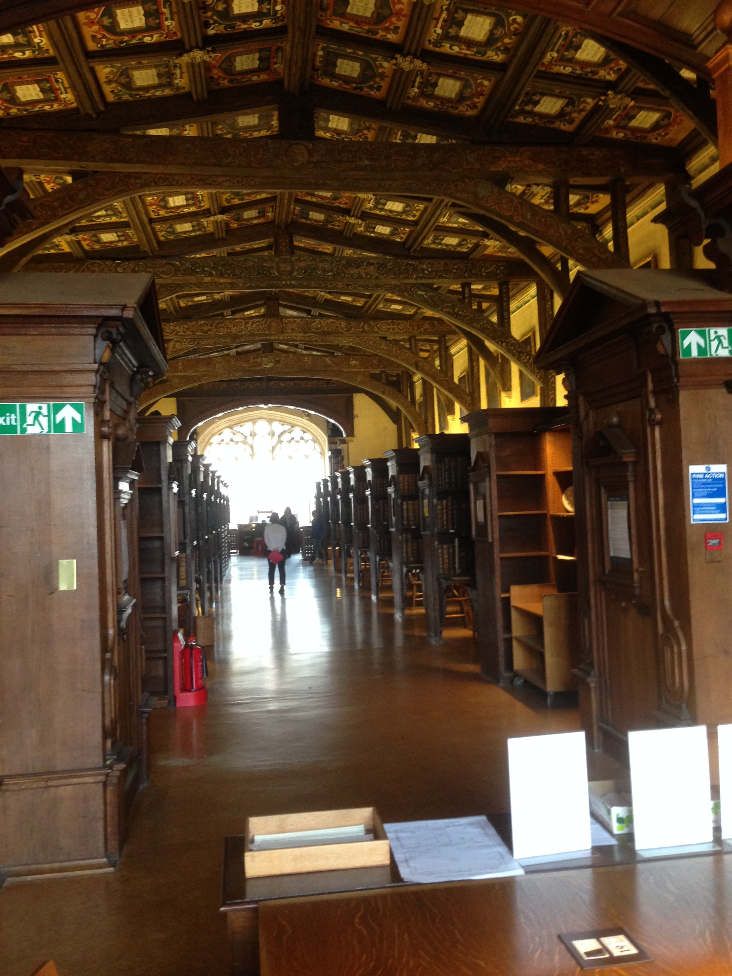 - Almost got tossed out of the library for this photo. This is the oldest reading room in the oldest Oxford library, and I hadn't noticed the No Photography sign. This space was built in the 15th century.  I wrote a bunch of my paper here as well.