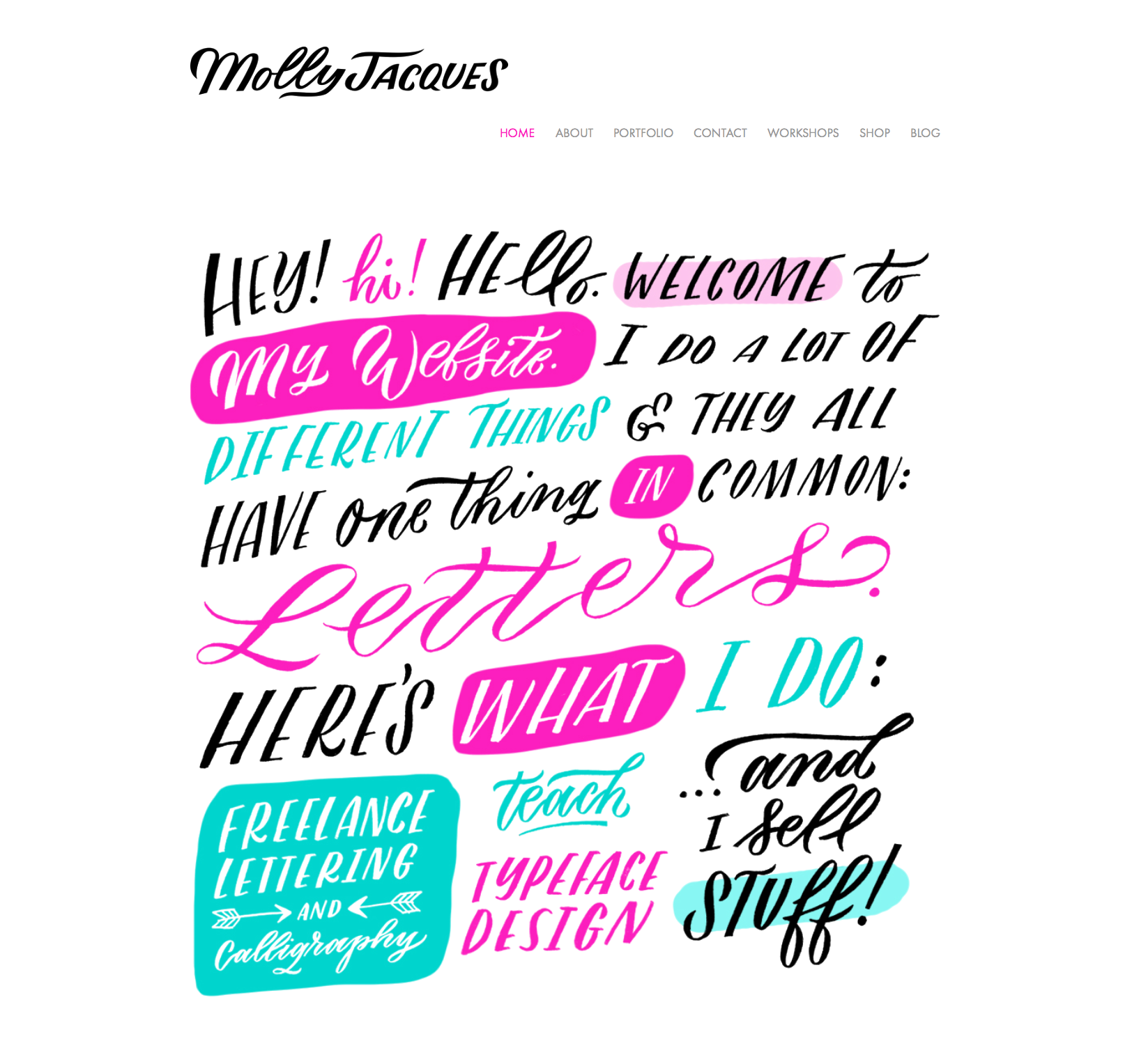 Molly Jacques  is a well-known letterer and illustrator, and she cleverly uses her skills to outline her services in a way that draws visitors in and gives them a great first impression.