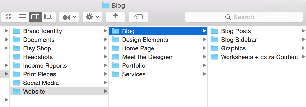 A peek at how I organize my files for the blog.