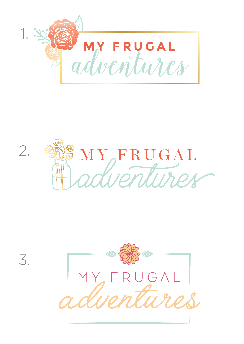 My Frugal Adventures Logo Concepts