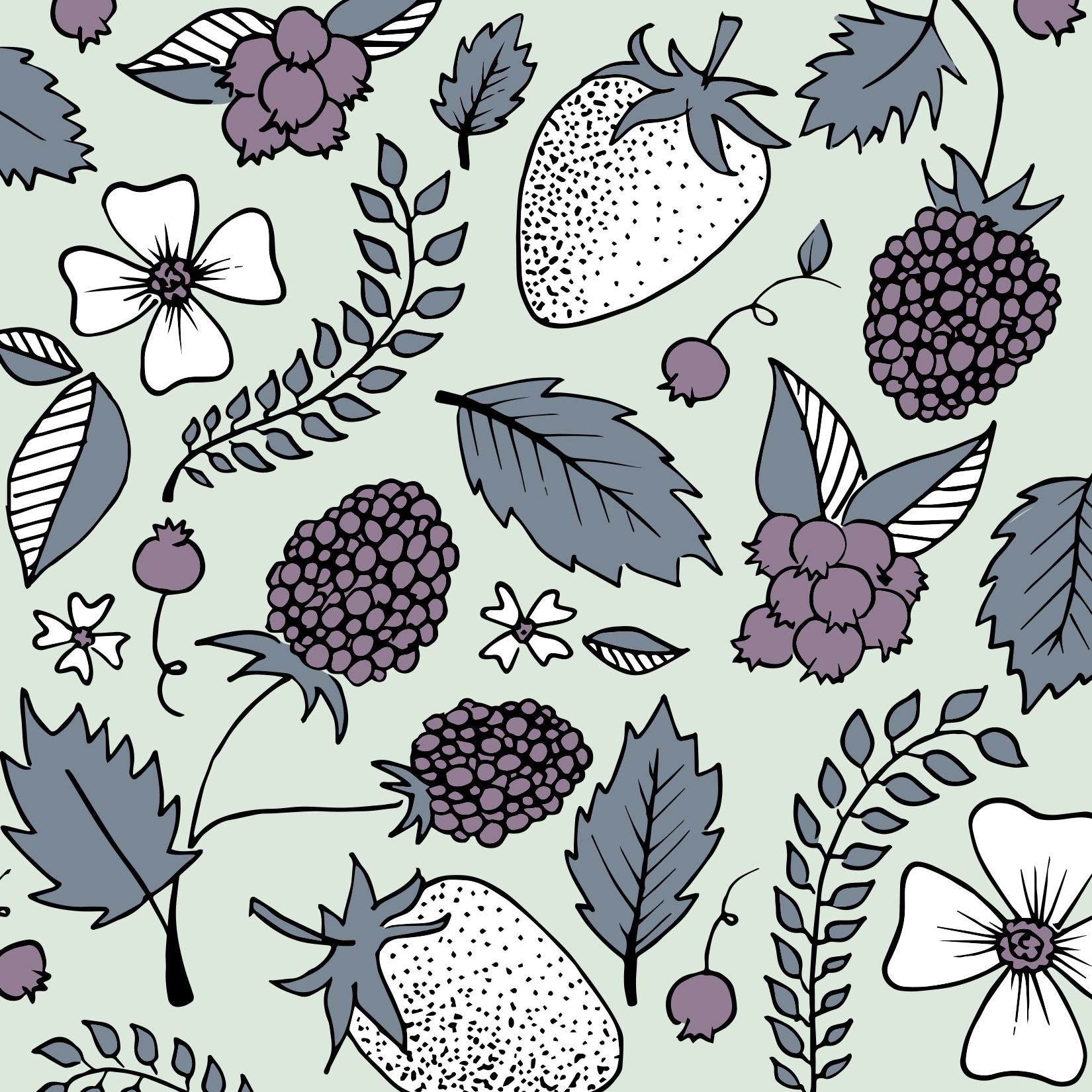 Custom Floral + Berry Pattern by Gillian Tracey Design