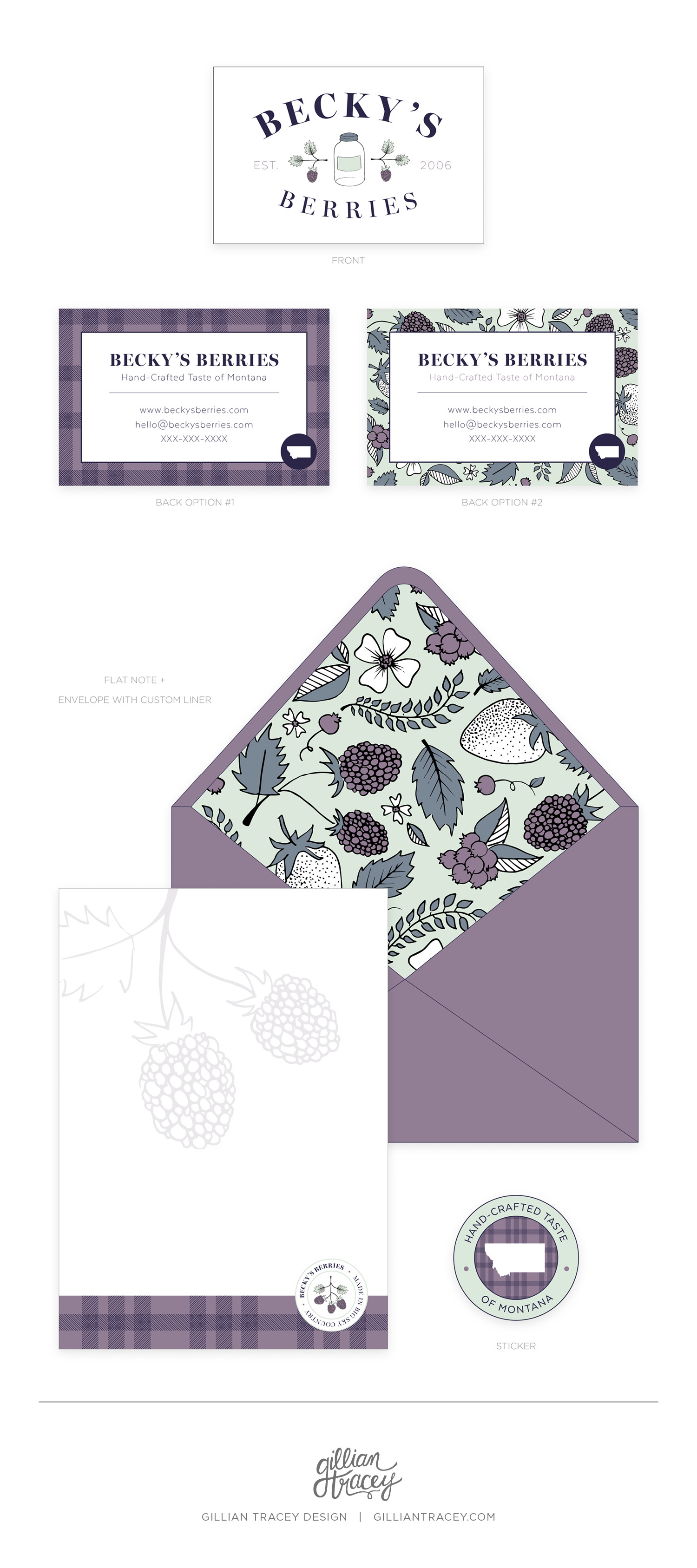 Becky's Berries Concept Print Collateral Items - Gillian Tracey Design