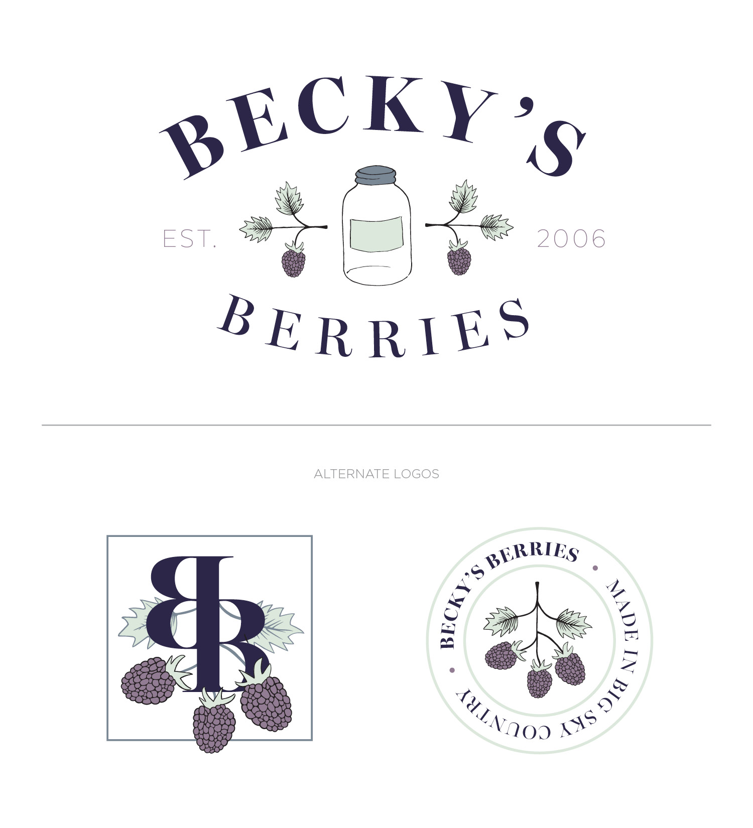 Becky's Berries conceptual primary and alternate logo design by Gillian Tracey Design
