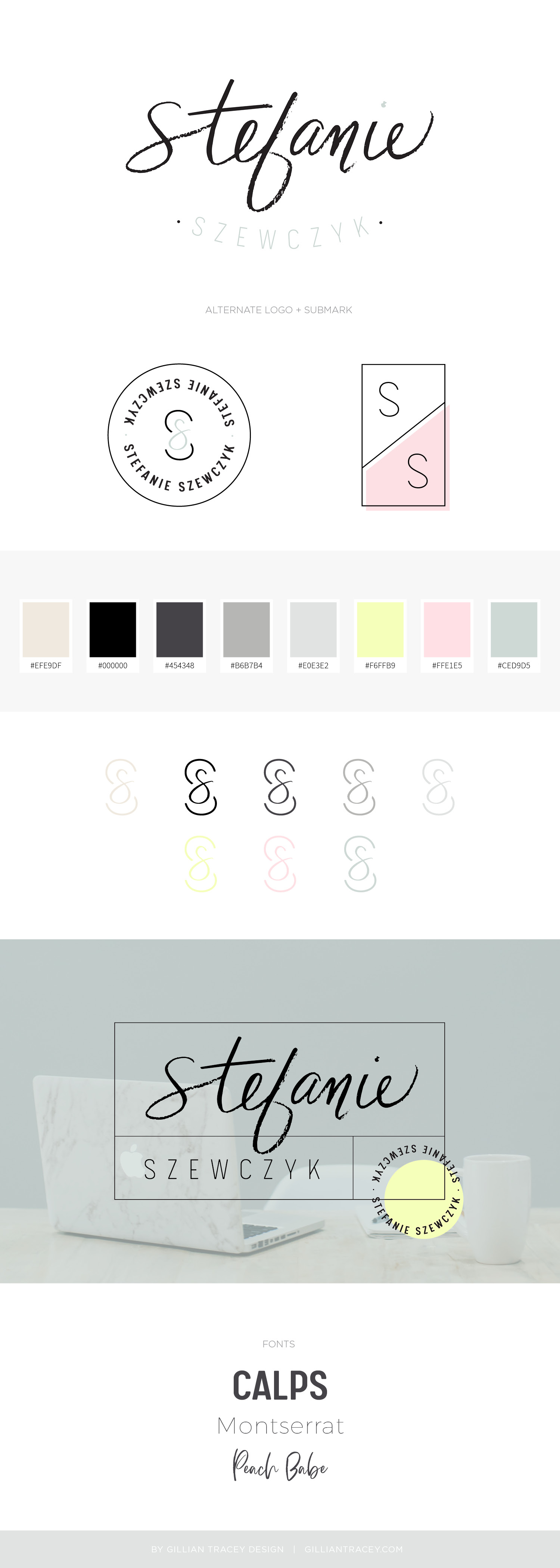 Stefanie Szewczyk custom branding and Squarespace site design by Gillian Tracey