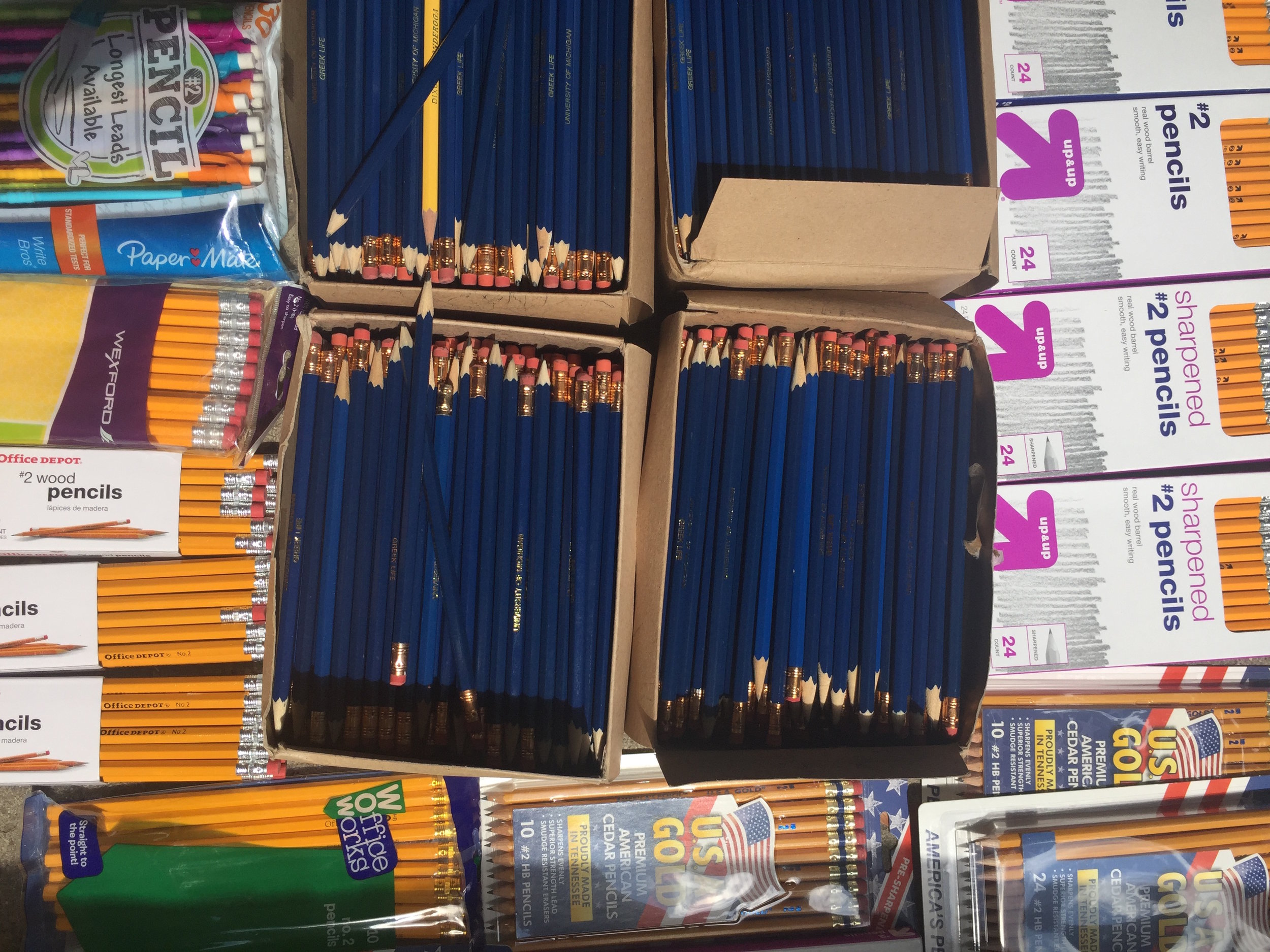 84 Packs of Pencils - Donated by generous individuals at UM and Scarlett Middle School