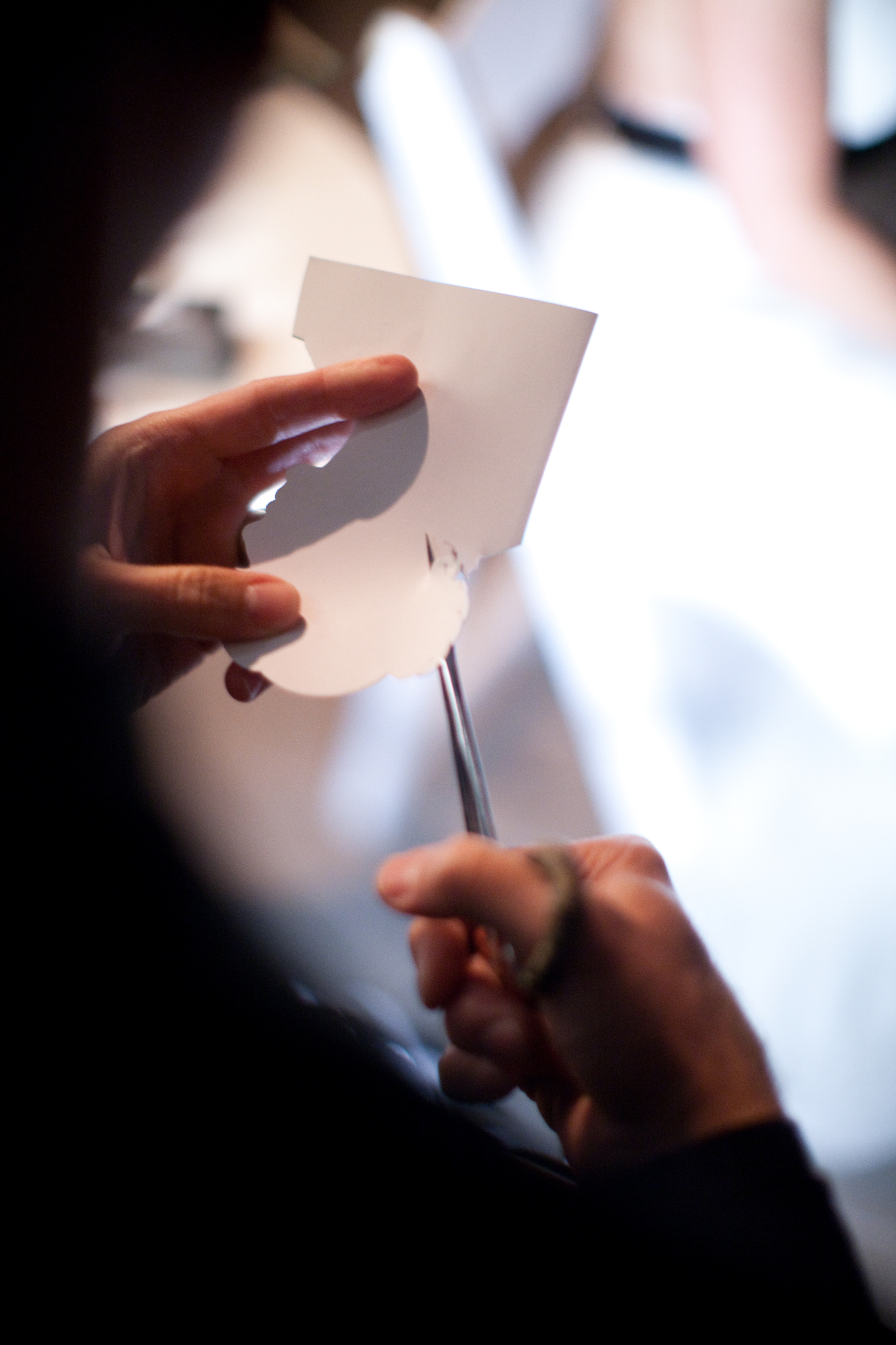 Karl's hands cutting Samantha Hanks silhouette at wedding..jpg