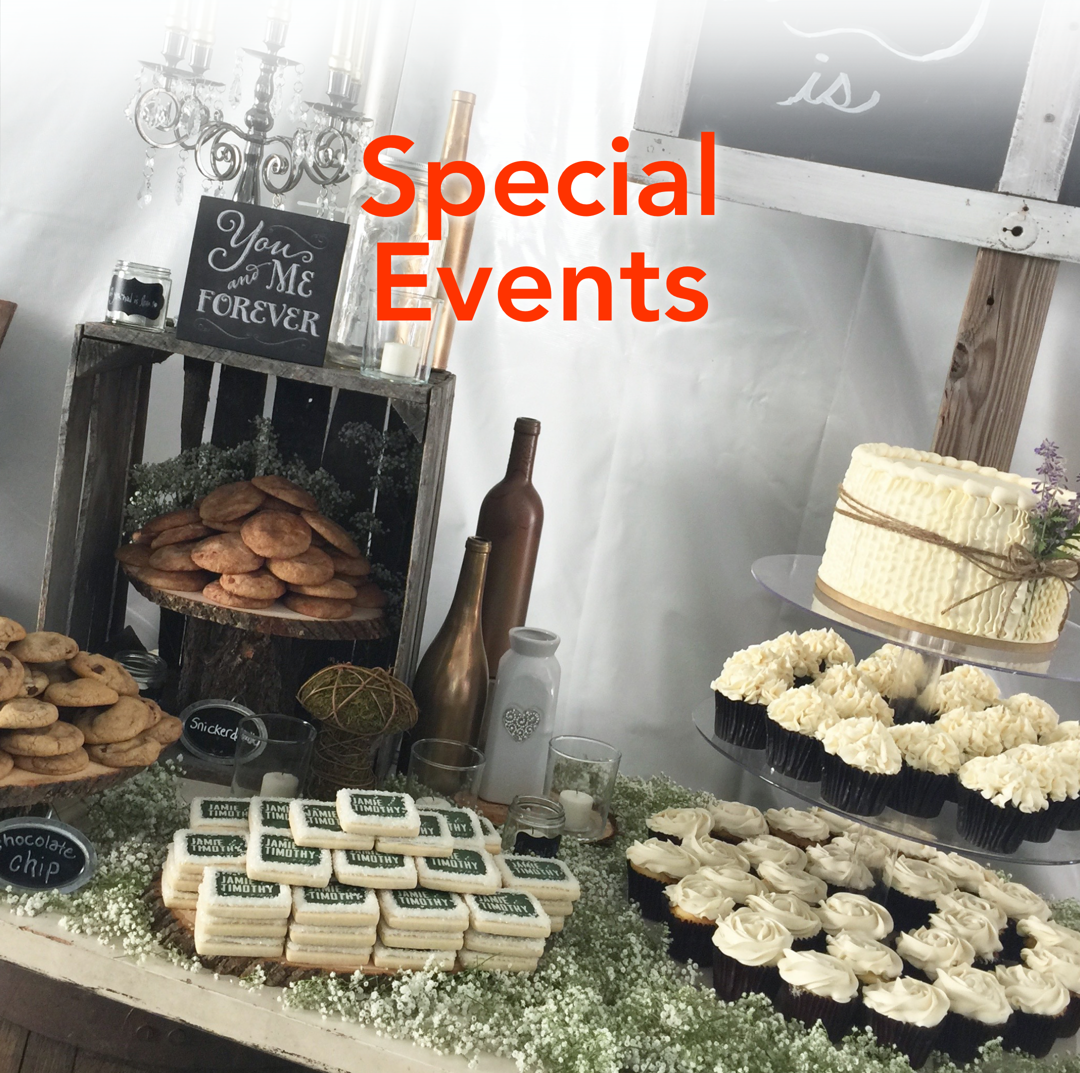 Fill your dessert display with a variety of custom cookies, cupcakes and more.