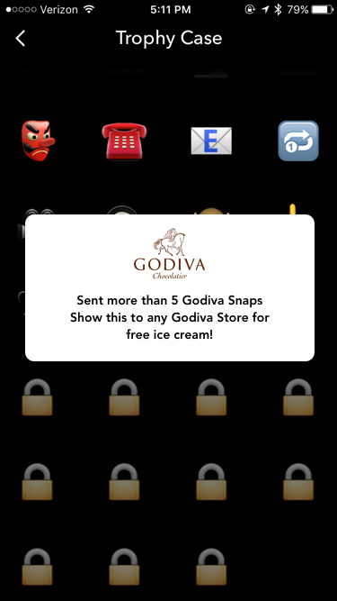 Unlocked Godiva Trophy! Rewarded with a free ice cream Coupon