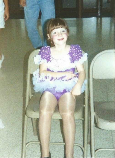 A 4 year-old Jessica from her recital debut in a piece titled 'Little Bitty Pretty One'.