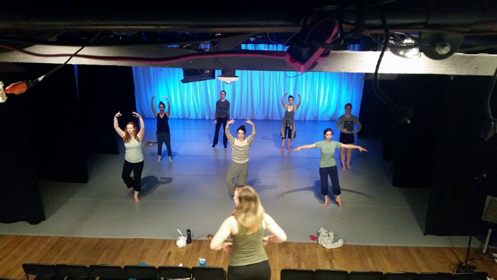 """Artistic Director Holly Logan running company class prior to their inaugural show, """"HUMAN"""".Photo courtesy of Jeremy Williams of  Ampersand&Productions ."""