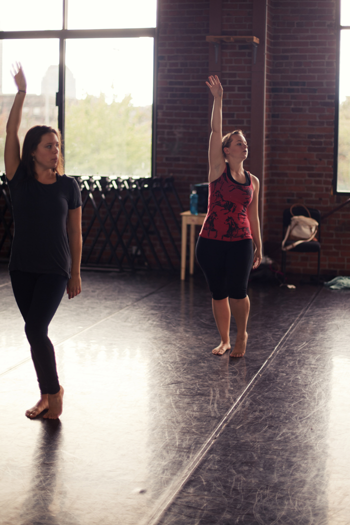 "Holly Logan running rehearsal for ""Solos in Three"" with dancer Heather Smith. Photo courtesy of  S. Weissbach Photography ."