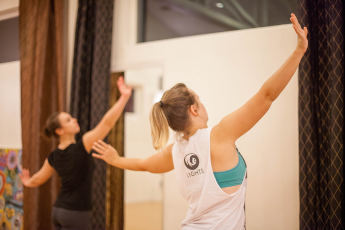 """Holly Logan works with dancer Katie Borthwick in rehearsals for Logan's """"Solos in Three."""" Photo courtesy of  S. Weissbach Photography ."""