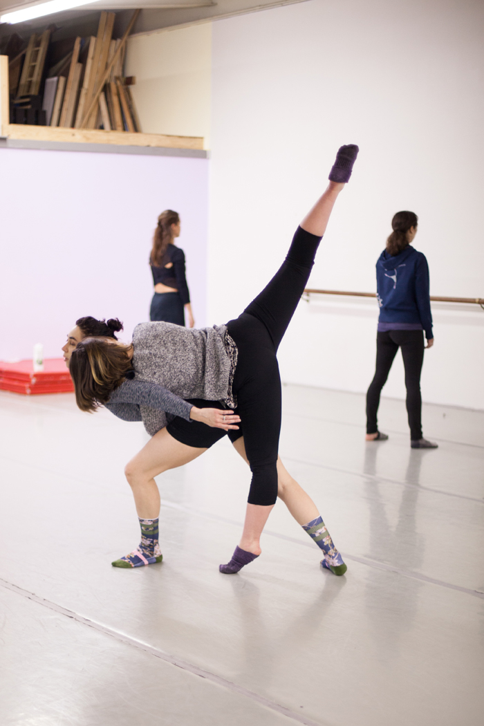 "Intrepidus dancers (from left to right) MacKenzie Blue Tapia, Katie Borthwick, Heather Smith, & Ciara McCormack in rehearsals for Season III's ""Kindling."" Photo courtesy of S. Weissbach Photography."