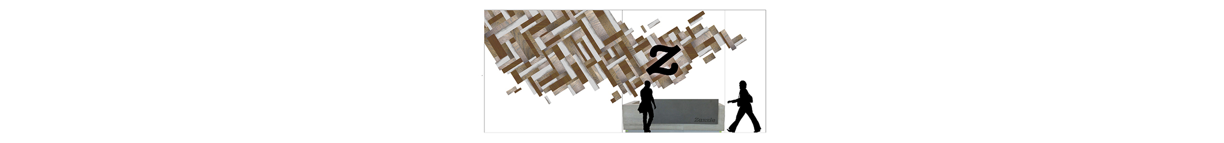 Proposed backlit wooden wall installation for Zazzle HQ 35'x15'