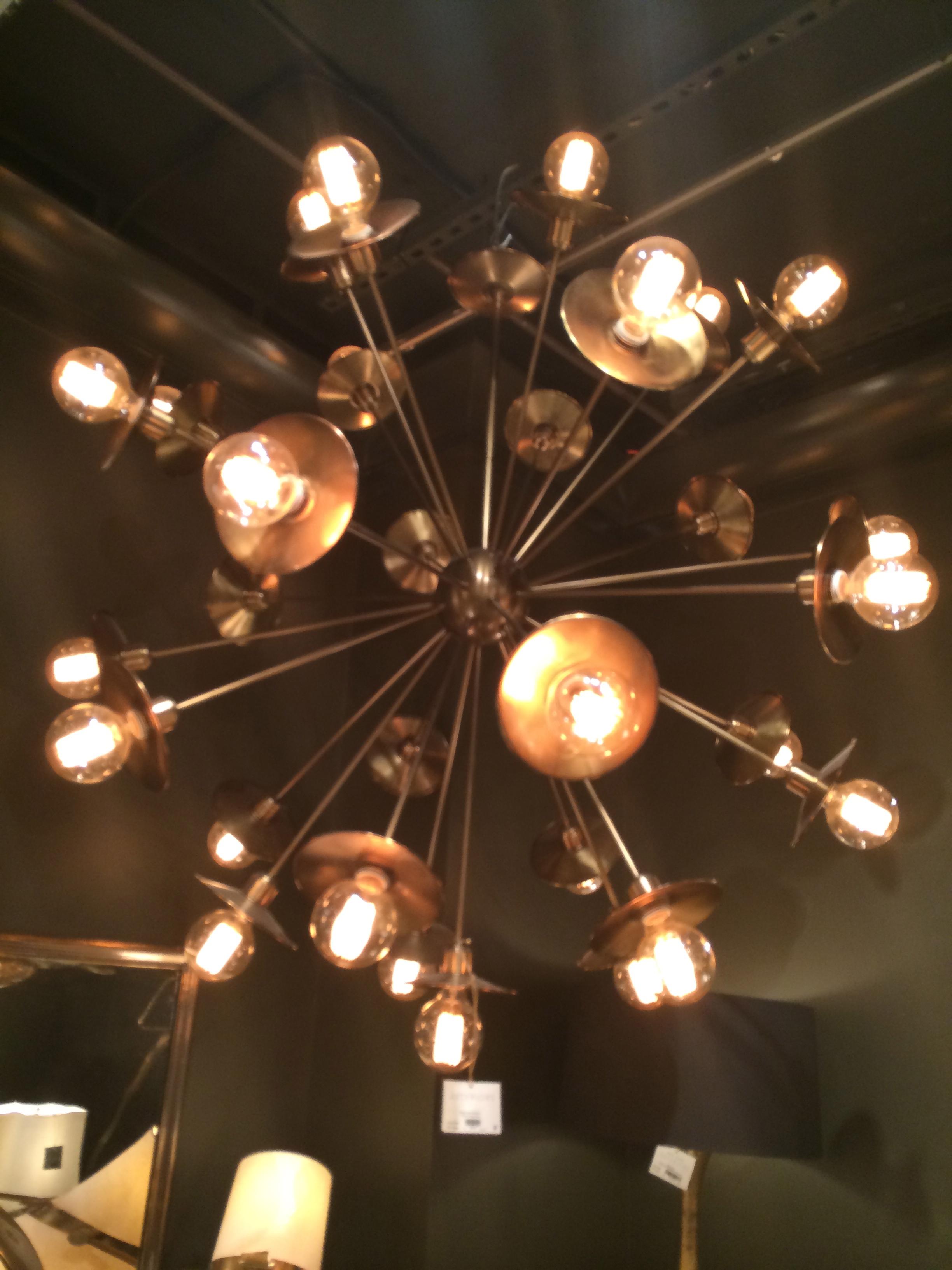 Industrial Brass Sputnik Chandelier