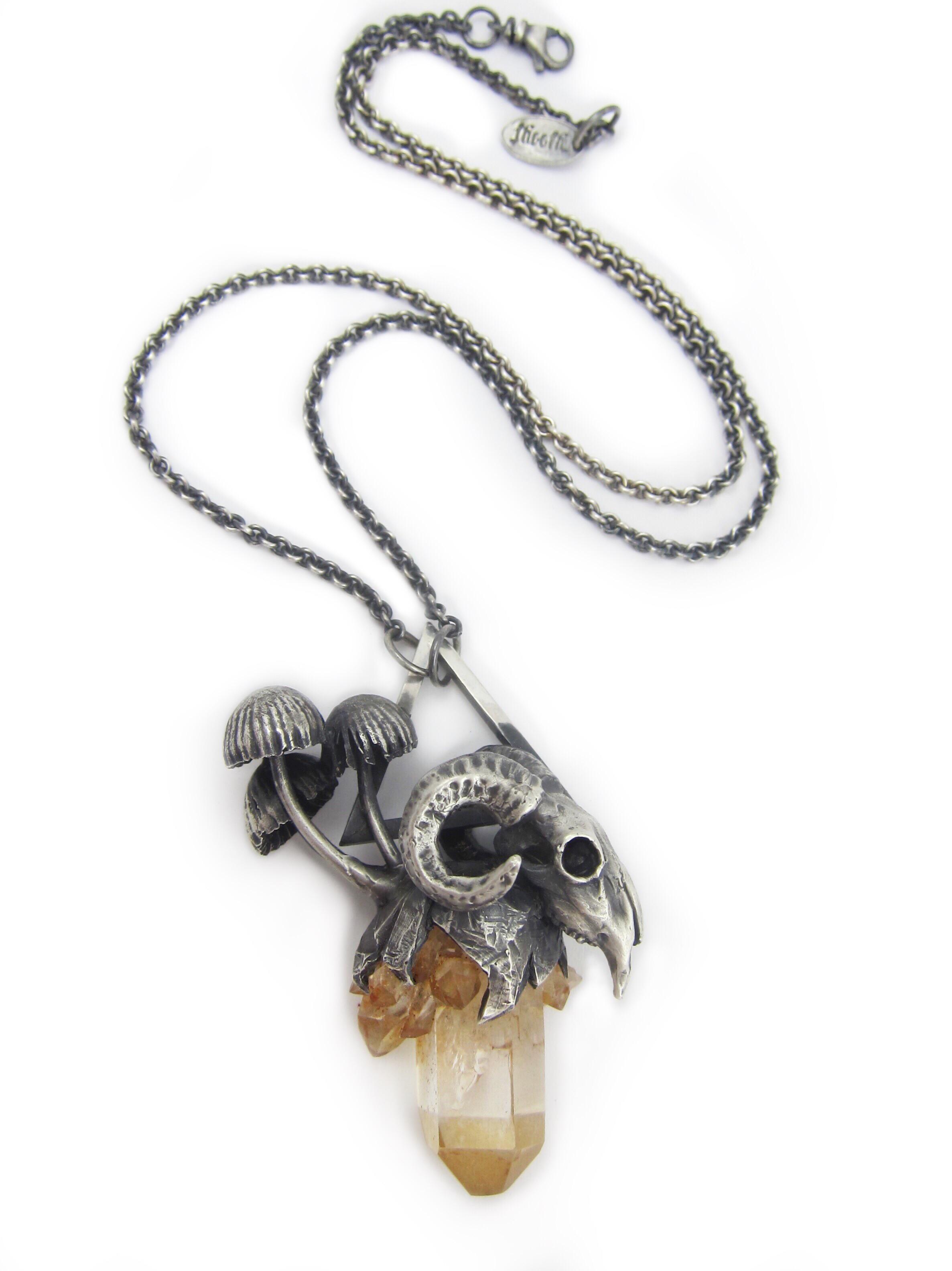 Mushroom Crystal Ram Skull Necklace