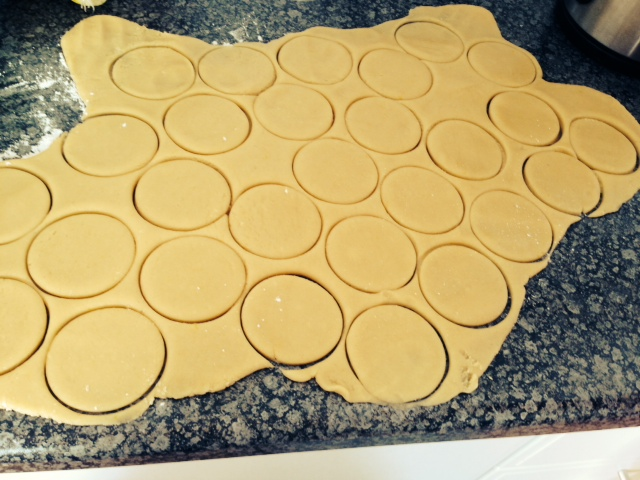 This is how it should look after rolling the dough out and making the circle cut outs.