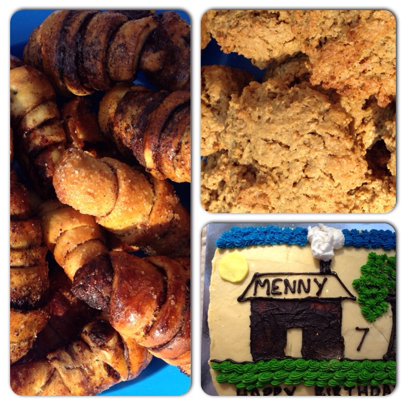 When I asked Menny what he wanted on his cake, it was cute to hear his response. A house with smoke coming out of the chimney and a tree! I'm glad he doesn't feel the need to have a superhero themed party! I also baked the delicious peanut butter oatmeal cookies and chocolate and cinnamon Rugelach - both recipes can be found in the food category on the blog.