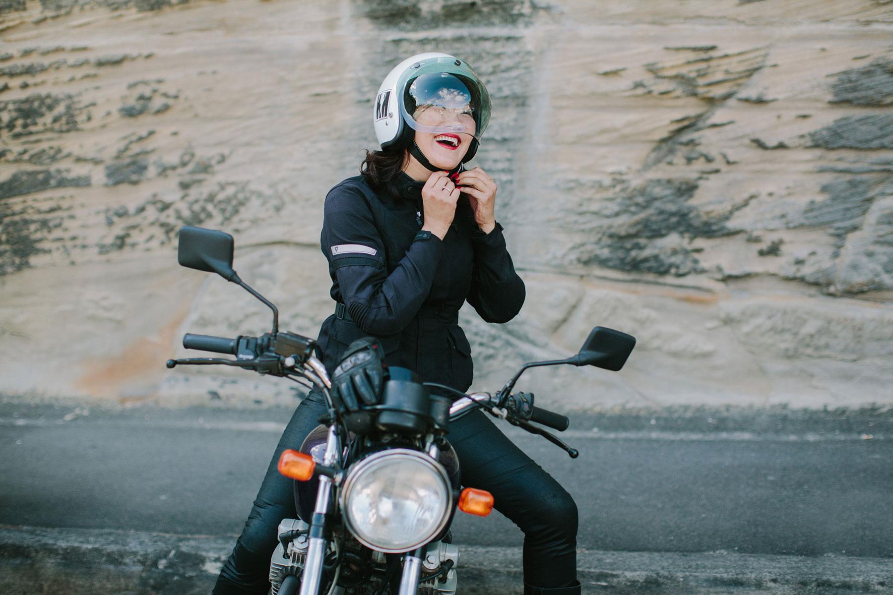Zaya and her Honda 550cc whatever...