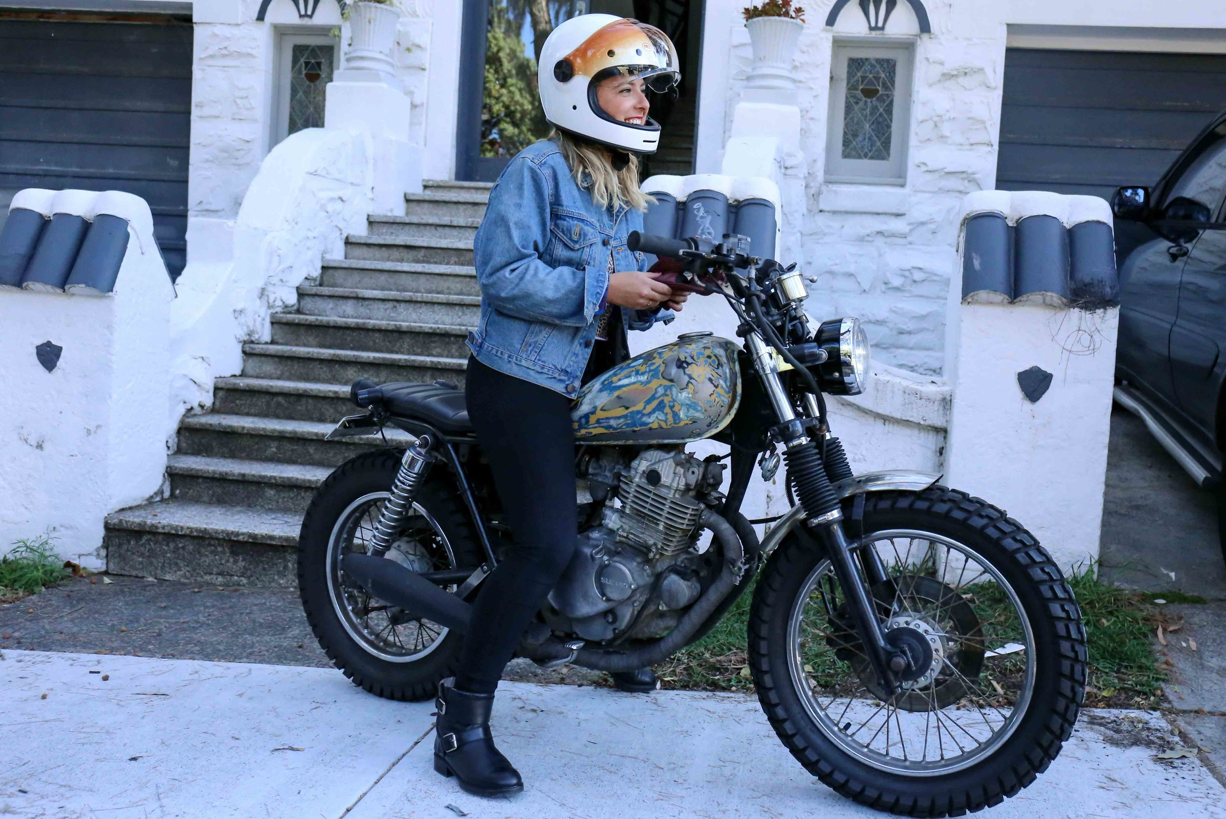 Erica and her GN250 was the perfect size for starting out.