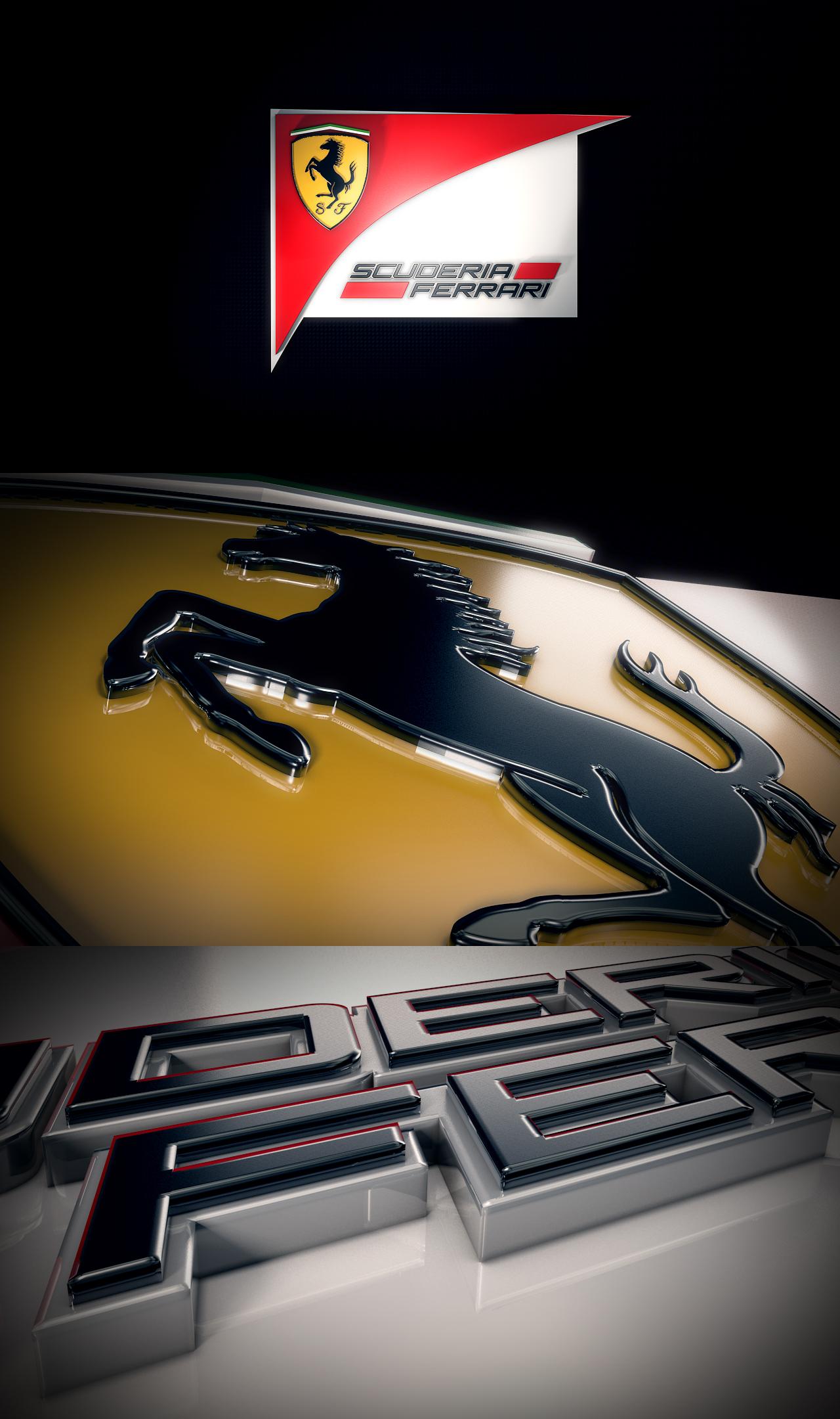 3 frames from the Ferrari team logo render. No post work.