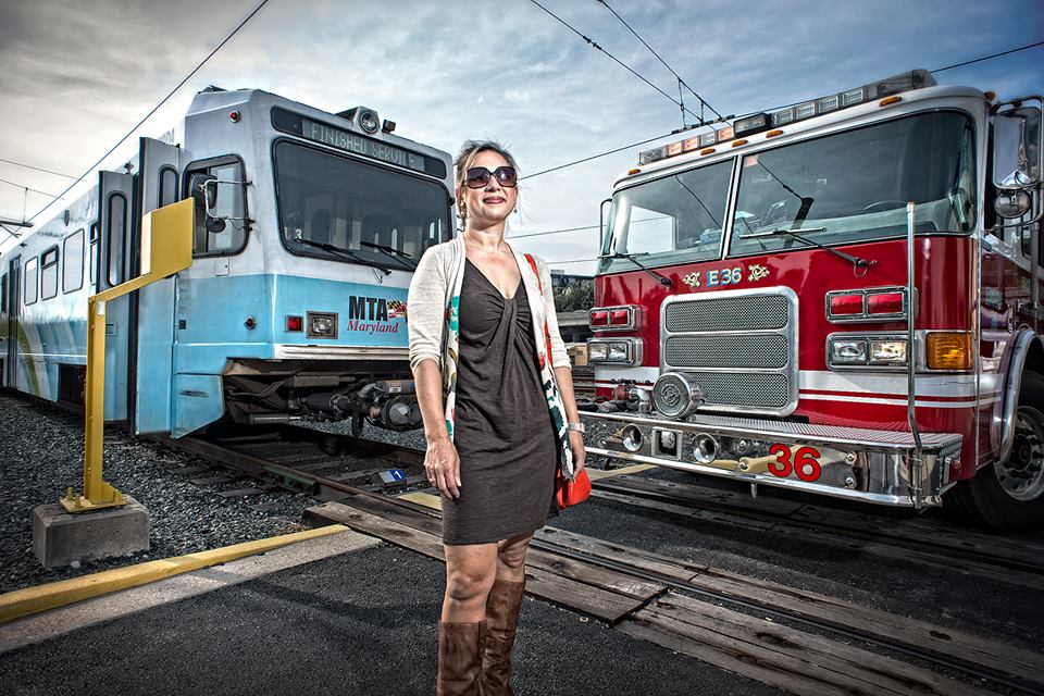 This is an out-take from one of my all time favorite photo shoots for a publication createdto educate first responders. I'm standing in so the wonderful Chris Myers of  Chris Myers Photography  can set the shot up. (Art directing fire trucks and trains is just as fun as it sounds!)