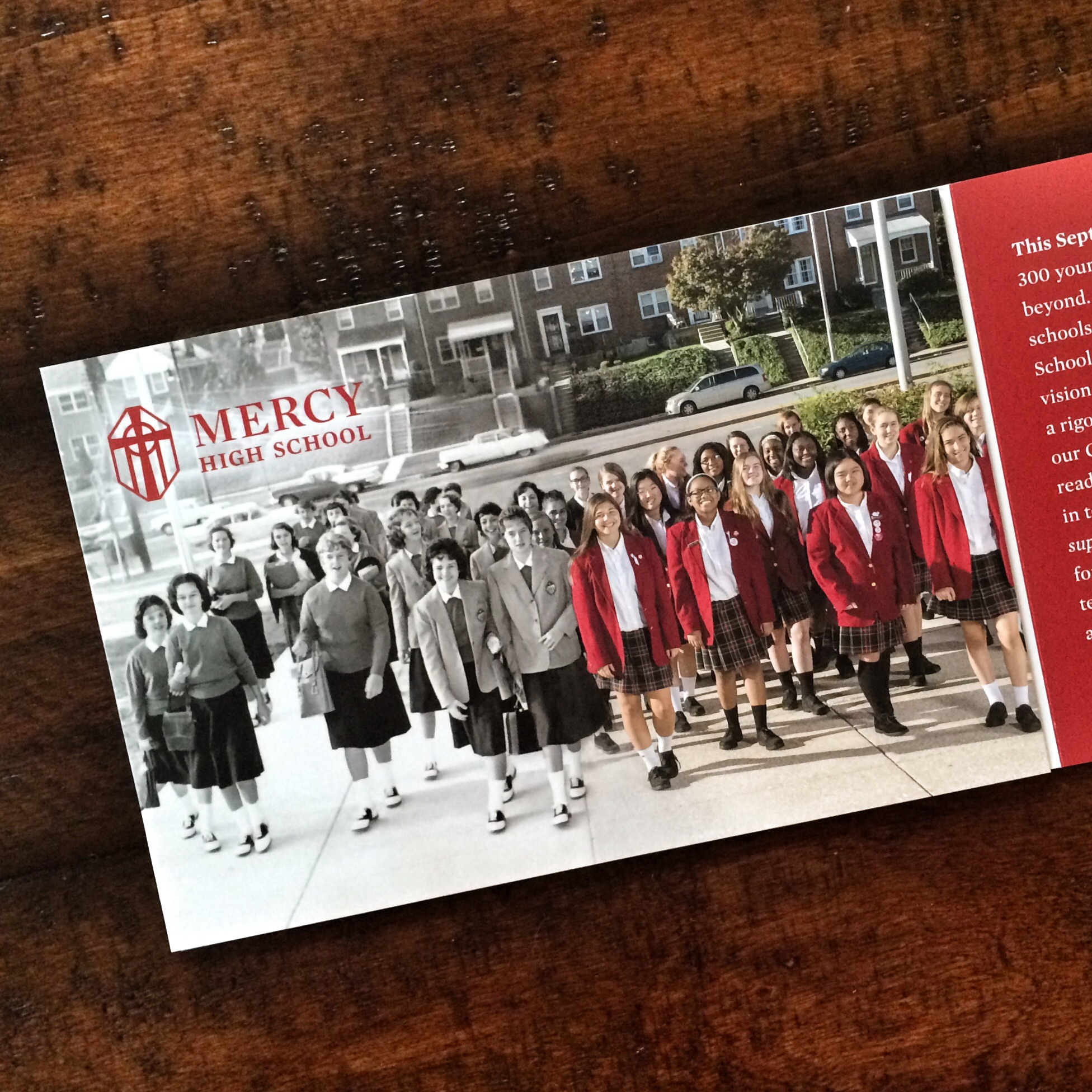 A close-up view of the most recent development brochure, which includes this great photo transition of students from 1960 and 2016. The girls were great sports for nearly an hour as I lined them up to match the archival photo. The photographer is the talented Howard Korn, and the photoshop work was all done here at Hatcher Design Office.