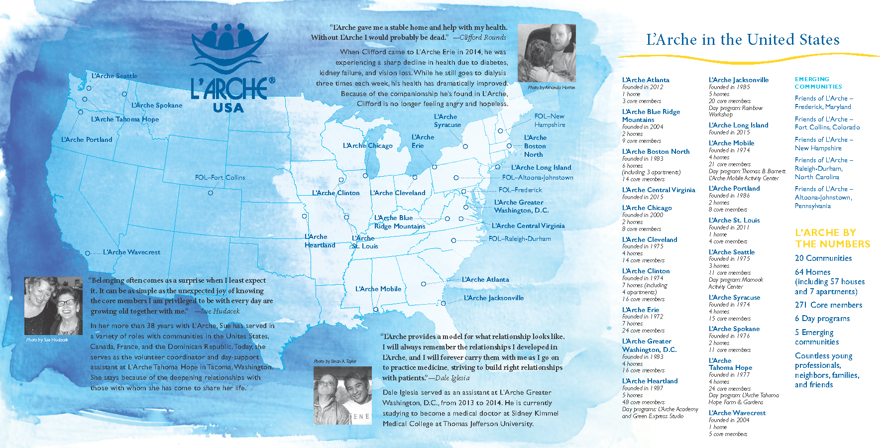 A map I designed showing all of the L'Arche locations in the United States.