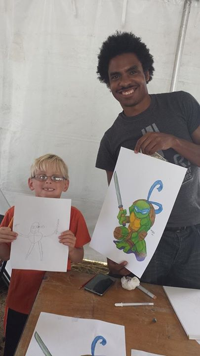Damien Duckett, colored penciler master with his inspired protege.