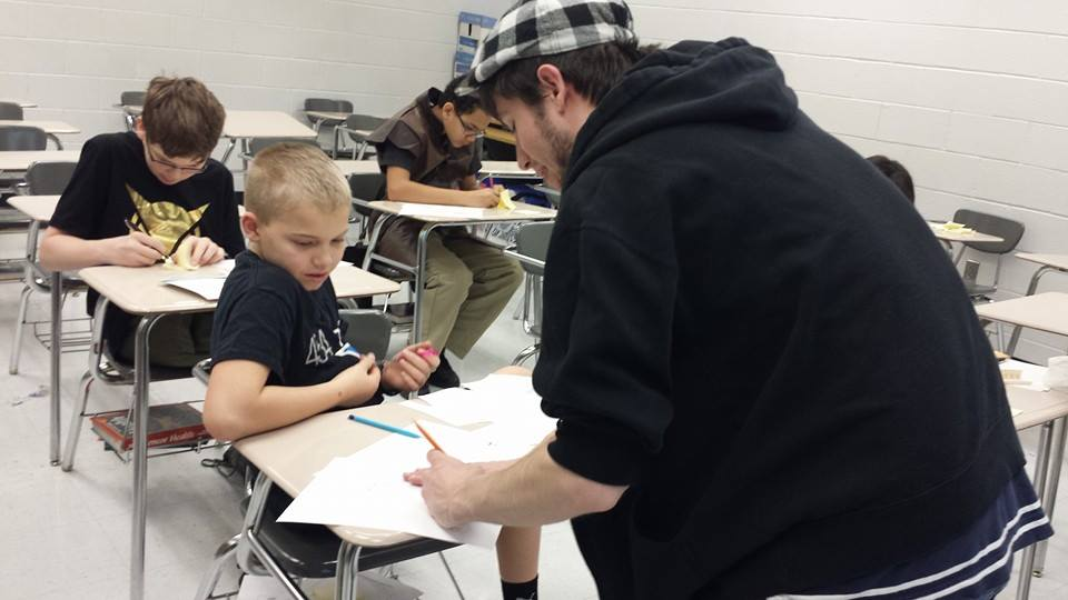 Jimmy instruction a student during  Star Wars Days  events.
