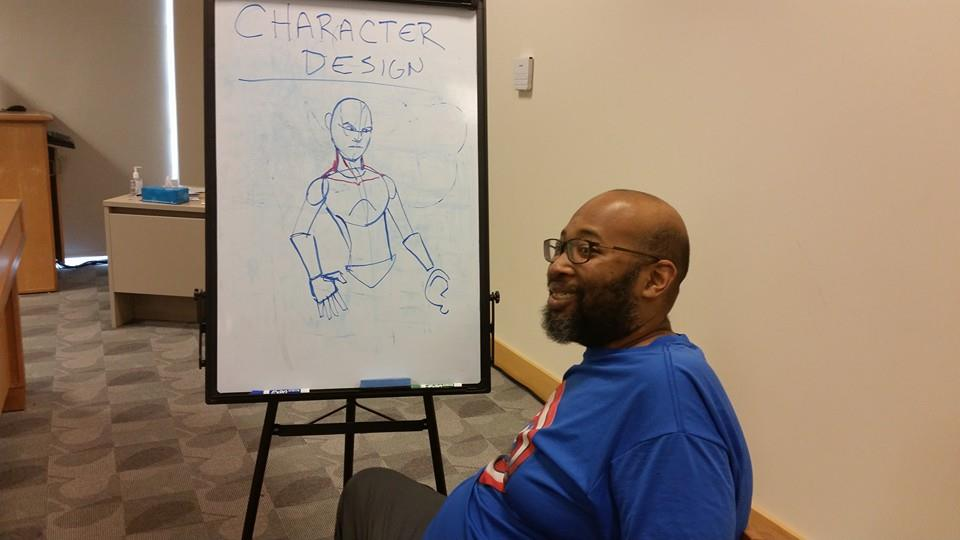 Keir Lyles showing drawing techniques.