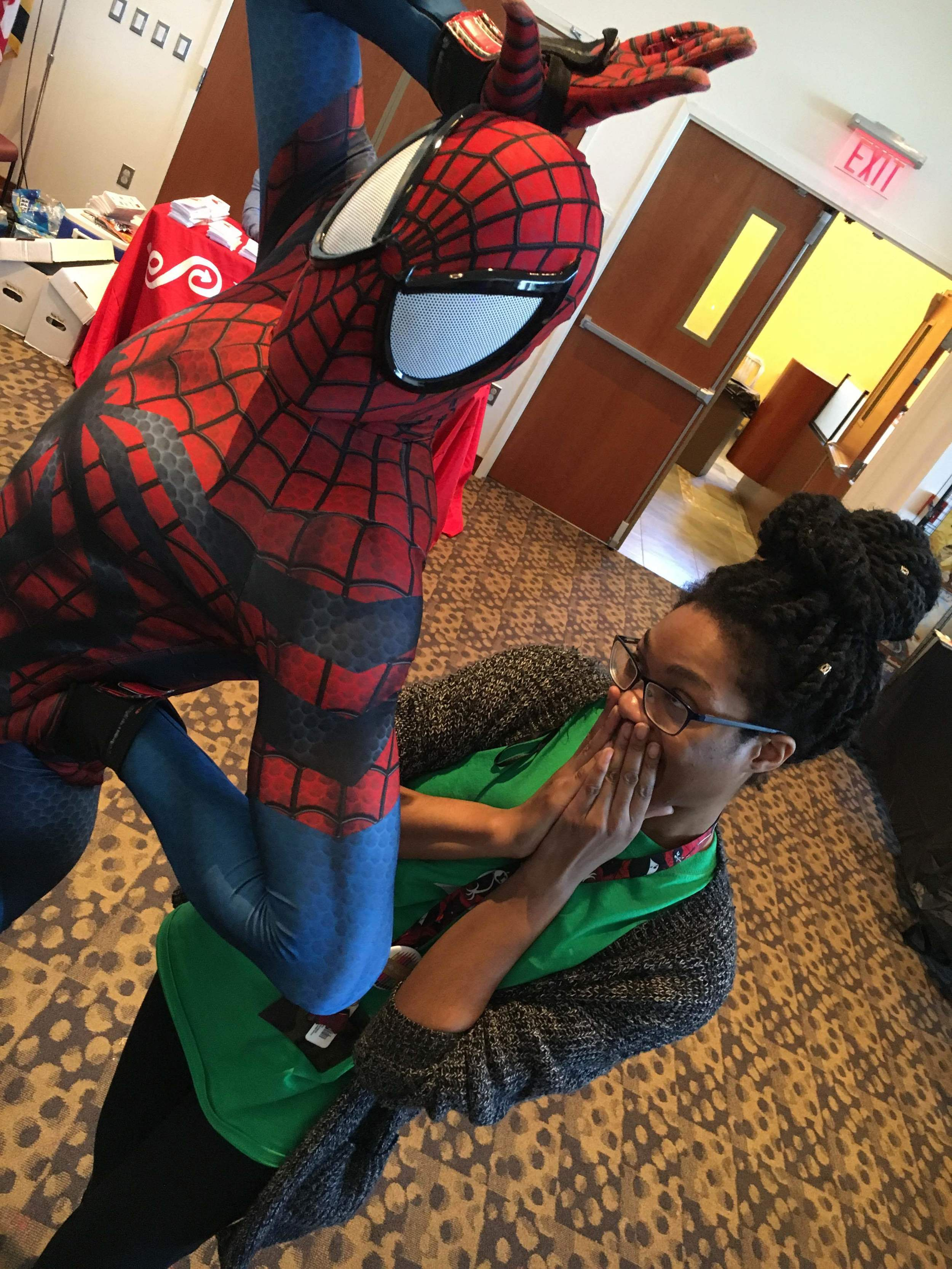 Here is Brittany with cosplayer T-Stunning Spider.