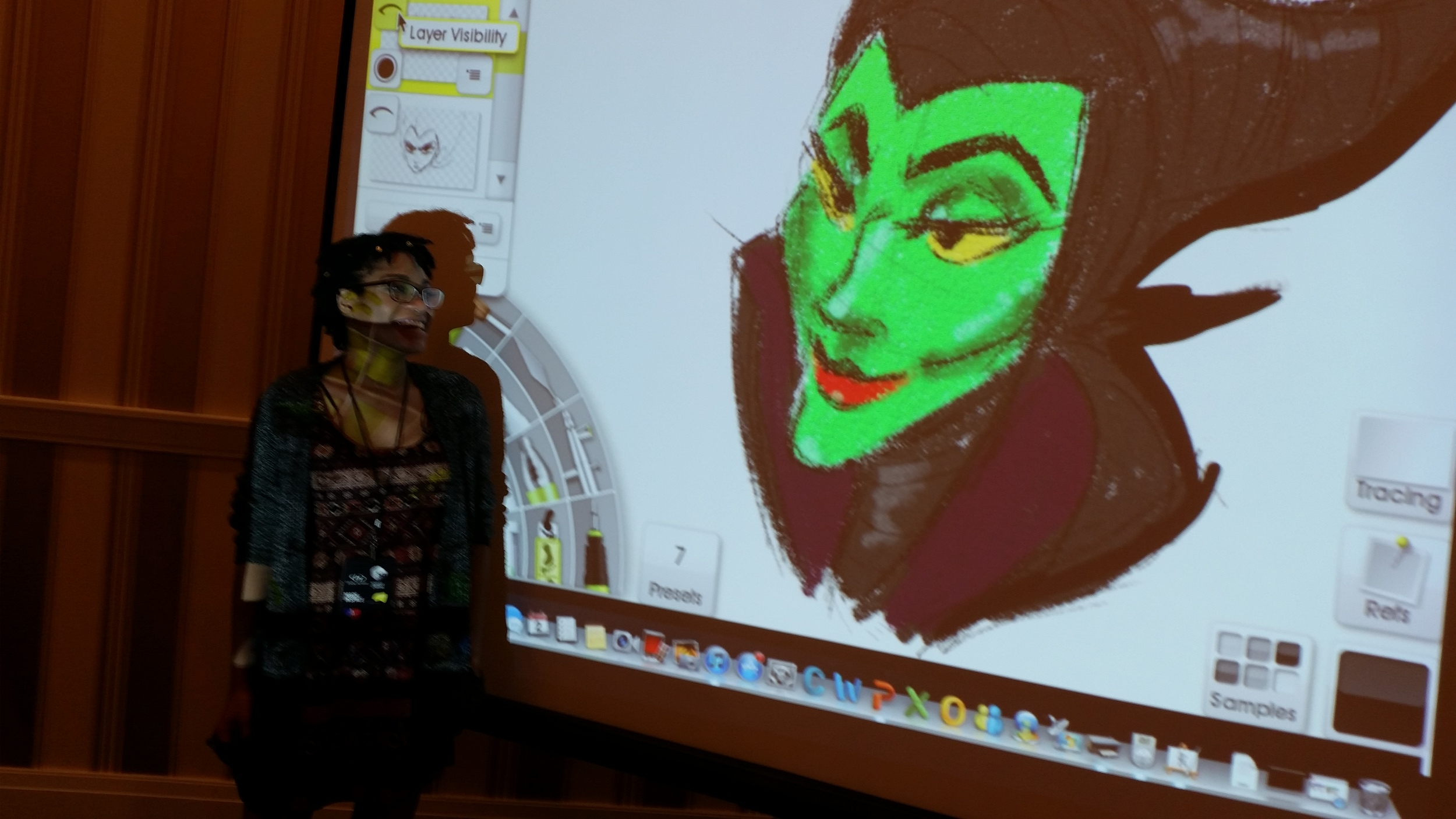 Brittany Pate showing the features of a villain with Maleficent from Sleeping Beauty as an example.