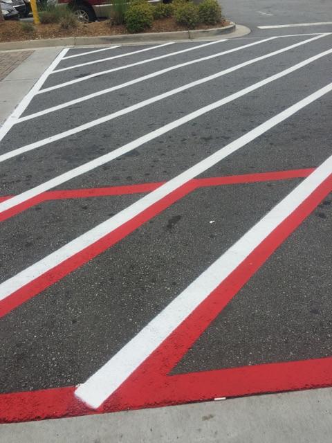 Crosswalk with a fire lane hashoutinlay