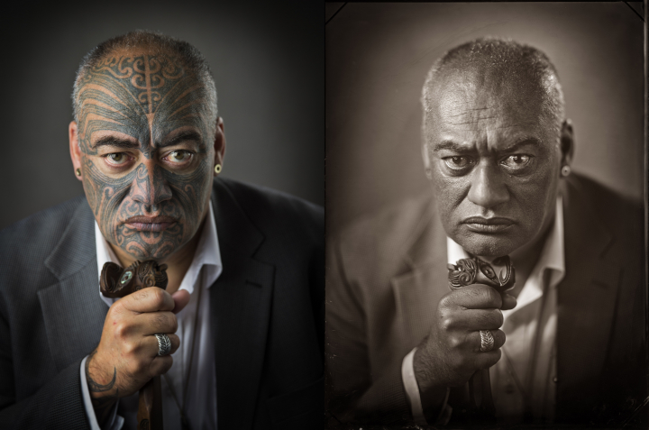 Michael Bradley's photograph of Gary Shane Te Ruki as part of his Puaki series, wet plate and digital photographs (courtesy of the artist)